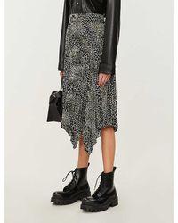 TOPSHOP Alligator Print Pleated Midi Skirt - Black
