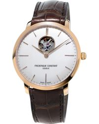 Frederique Constant - Fc-312v4s4 Slimline Gold-plated Stainless Steel And Leather Watch - Lyst