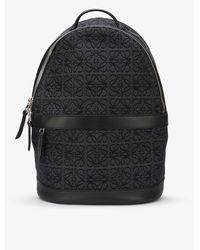 Loewe Anagram Brand-embroidered Cotton-blend Backpack - Black