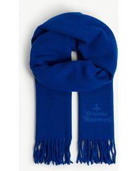 Vivienne Westwood Fringe Wool Scarf - Blue