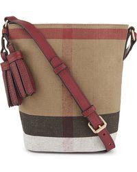7d056f042d16 Burberry - Petite Ashby Canvas Bucket Bag - Lyst