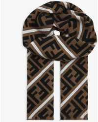 Fendi Reversible Wool And Silk Scarf - Black