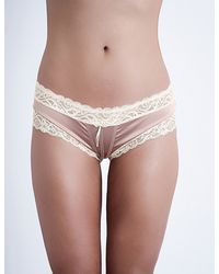 Silent Assembly - Ether Satin And Lace Mini Briefs - Lyst