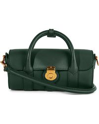 Burberry Trench Leather Mini Barrel Bag - Green
