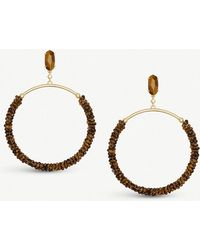 Kendra Scott - Russel 14ct Gold-plated Brass And Brown Tiger's Eye Hoop Earrings - Lyst