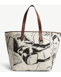 JW Anderson - Black And White Calico Belt Printed Tote Bag - Lyst
