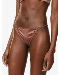 Love Stories Roomie Mid-rise Stretch-satin Thong - Brown