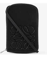 Loewe Logo-embossed Zipped Leather Case - Black