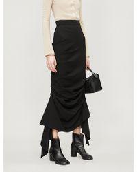 Awake - Asymmetric Draped-panel Stretch-crepe Skirt - Lyst