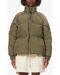 Ganni High-neck Quilted Shell-down Jacket - Green