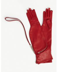 Rick Owens Larry Leather Gloves - Red