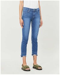 PAIGE Skyline Cropped Skinny High-rise Jeans - Blue