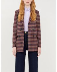 Sandro Checked Double-breasted Wool-blend Blazer - Purple