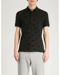 Emporio Armani - Flocked Logo Stretch-cotton Polo Shirt - Lyst