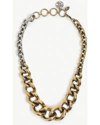 Alexander McQueen Gold-tone And Silver-tone Curb Chain Necklace - Metallic