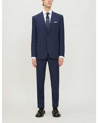 Canali Checked Regular-fit Wool Suit - Blue