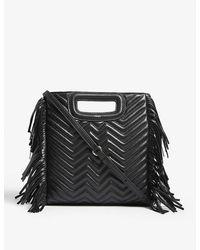 Maje M Quilted Leather Shoulder Bag - Black