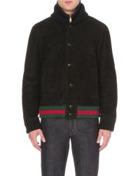 Gucci Shearling Leather Jacket - Black