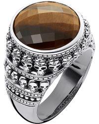 Thomas Sabo Rebel At Heart Tiger's Eye Sterling Silver Ring - Metallic