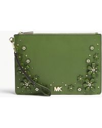 MICHAEL Michael Kors - Michael Kors True Green Floral Embellished Leather Zipped Pouch - Lyst
