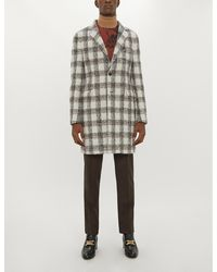 Etro Checked Single-breasted Alpaca And Wool-blend Coat - Multicolour