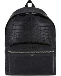 Saint Laurent - City Crocodile-embossed Leather Backpack - Lyst