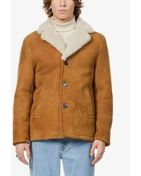 The Kooples Collared Notch-lapel Shearling Jacket - Brown