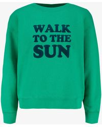 Sandro Sun Graphic-print Cotton-jersey Sweatshirt - Green
