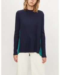 Sandro - Contrast-back Satin And Knitted Top - Lyst