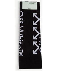 Off-White c/o Virgil Abloh Mens Black And White Logo Intarsia Cotton Blend Socks