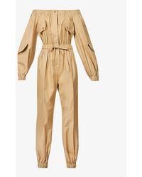 Max Mara Romana Off-the-shoulder Cotton-twill Jumpsuit - Natural