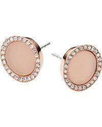 Michael Kors - Rose Gold-plated Crystal Stud Earrings - Lyst