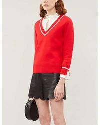 Claudie Pierlot Makyh Chiffon Frilled-cuff Stretch-knit Sweater - Red