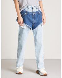 Natasha Zinko - Layered Shorts And Wide-leg High-rise Jeans - Lyst
