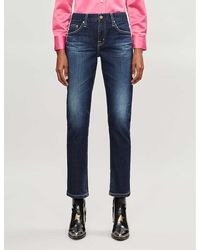 AG Jeans The Ex-boyfriend Slim Distressed Boyfriend Mid-rise Jeans - Blue