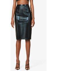 Mugler Embossed High-waisted Faux-leather Midi Skirt - Black
