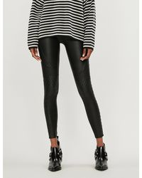 Spanx Quilted Faux-leather leggings - Black