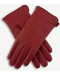 Dents Faux-shearling Leather Gloves - Red