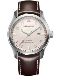 Bremont Solo/wi-si Stainless Steel Leather Strap Watch - Brown