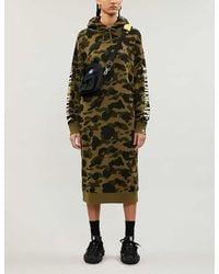 A Bathing Ape Camouflage-print Cotton-jersey Hoody Dress - Green