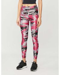 Koral Camouflage-print Lustrous High-shine Stretch-jersey leggings - Red