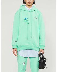 ADER error Logo-print Cotton-jersey Hoody - Green