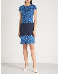 St. John - Brocade-embroidered Knitted Dress - Lyst