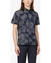 Ted Baker - Graphic-print Stretch-cotton Shirt - Lyst