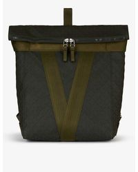 Bottega Veneta Geometric-pattern Cotton-blend Backpack - Green