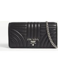 Prada Quilted Leather Wallet On Chain - Black