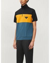Prada - Colour-blocked Stretch-cotton Polo Shirt - Lyst
