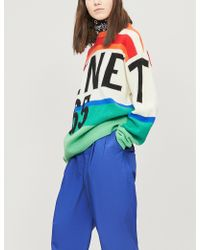 Benetton Graphic Striped Wool Sweater - Blue