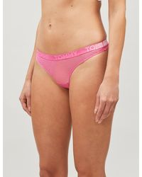 Tommy Hilfiger Velvet Stretch-lace Thong - Pink