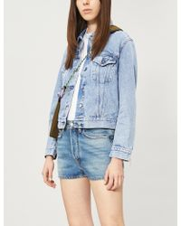 Acne Studios - Faded High-rise Denim Shorts - Lyst